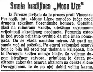 """Smola kradljivca """"Mona Lize"""""""