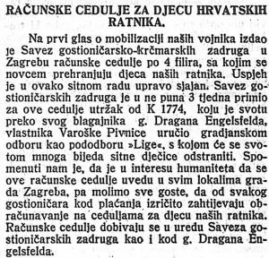 Računske cedulje za djecu hrvatskih ratnika