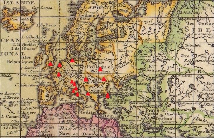 Hrvatska (Dubrovnik), Italija (Venezija, Rim, Pescia, Bassano i Ripoli), Francuska (Pariz), Belgija, Engleska (London), Moldavija, Poljska, Njemačka, Austrija.