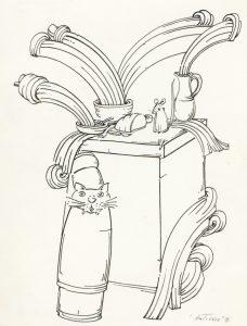 """Mačka i miš, tuš, 1994. (GZAH 8272 ant 2) / ilustracija za pjesmu """"Maca i miš"""" Ivana Filipovića"""